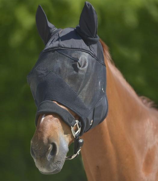Fliegenmaske Premium mit Ohrenschutz, schwarz, PON