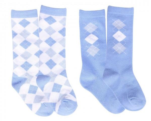 Babysocken Check (satz von 2) Hellblau 6-12m