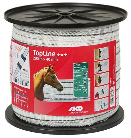 TopLine Weidezaunband weiß/schwarz 200 m, 40mm