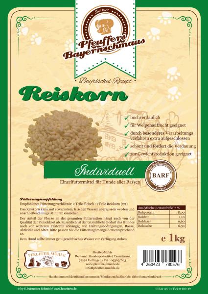 Pfeuffers Hundefutter Reiskorn 1kg