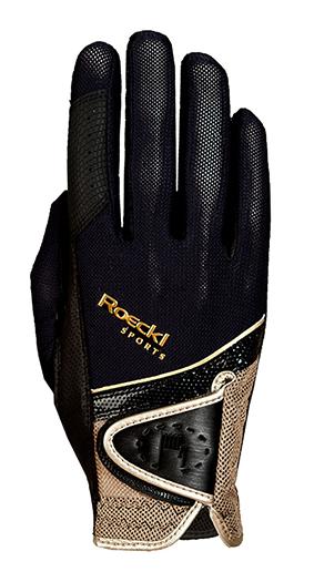 Roeckl Reithandschuh Madrid schwarz gold Gr. 7