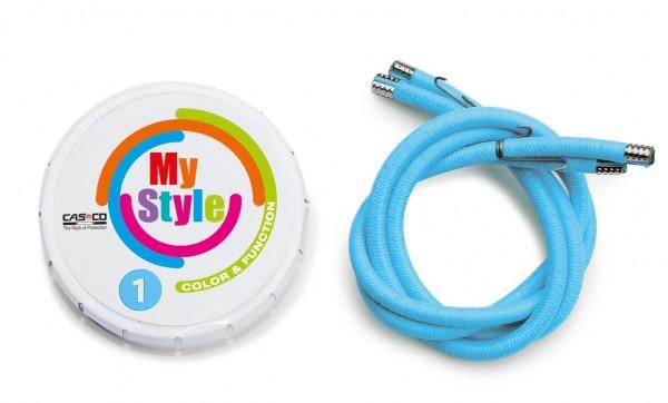 MyStyle Casco Streifen hellblau Reflektor Gr. 1