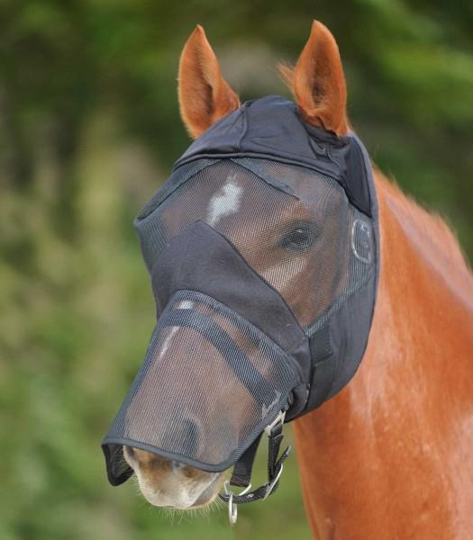 Fliegenmaske ohne Ohren - mit Nasenschutz PON sw