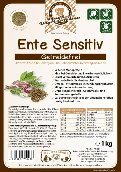 Pfeuffers Hundefutter Ente Sensitive 1kg