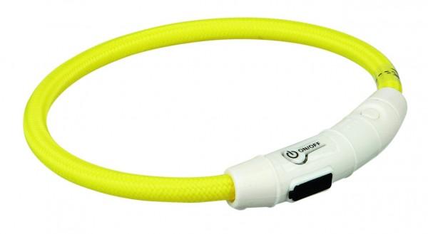 Flash Leuchtring USB, L–XL: 65 cm/ø 7 mm, gelb