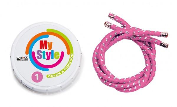 MyStyle Casco Streifen rosa reflektor Gr.1