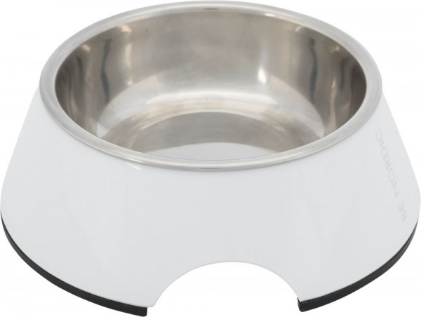 BE NORDIC Napf Melamin/Edelstahl 0,2l /ø 14cm weiß