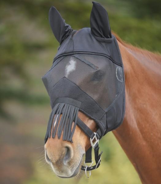 Fliegenmaske Premium mit Ohren, Nasenfransen sw VB