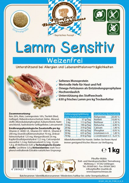 Pfeuffers Hundefutter Lamm Sensitive 1kg