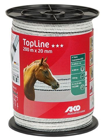 TopLine Weidezaunband weiß/schwarz 200 m, 20mm