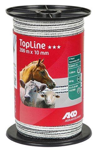TopLine Weidezaunband weiß/schwarz 200 m, 10mm