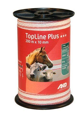 TopLine Plus Weidezaunband weiß/rot/400m