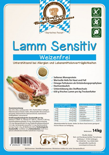 Pfeuffers Hundefutter Lamm Sensitive 14kg